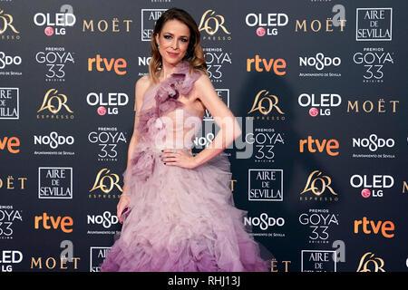 Sevilla, Spanien. 2. Feb 2019. Silvia Abascal nimmt Goya Kino Awards 2019 an fibes Konferenz- und Ausstellungszentrum. Credit: SOPA Images Limited/Alamy leben Nachrichten - Stockfoto
