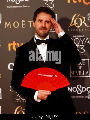 Sevilla, Spanien. 2. Feb 2019. Julian Lopez nimmt Goya Kino Awards 2019 an fibes Konferenz- und Ausstellungszentrum. Credit: SOPA Images Limited/Alamy leben Nachrichten - Stockfoto