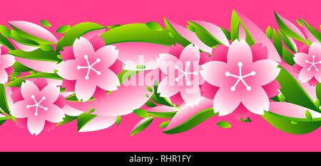 Nahtlose Muster mit Sakura oder Cherry Blossom. - Stockfoto