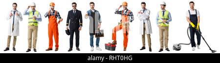 Collage von stattlicher Mann mit verschiedenen Berufsgruppen isoliert auf weißem - Stockfoto