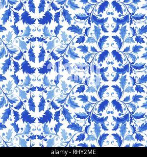 Traditionell Blau portugiesische Fliesen Azulejo Ornament, Vektor nahtlose Muster mit Blättern, Locken und stilisierte Laub. - Stockfoto