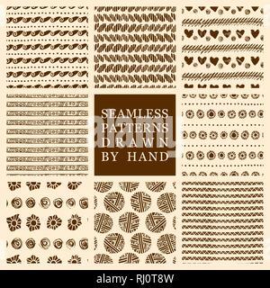 Vektor einrichten von Hand gezeichnet nahtlose Muster mit Tinte. Freehand Texturen für Gewebe, Polygraphie, Web Design. - Stockfoto