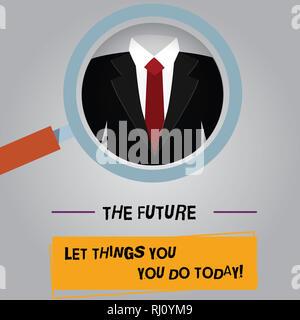 Handschrift text Die Zukunft hängt davon ab, was Sie heute tun. Konzept Sinn machen die Dinge jetzt zu bekommen Erfolg Lupe Foto vergrößern Inspectin - Stockfoto