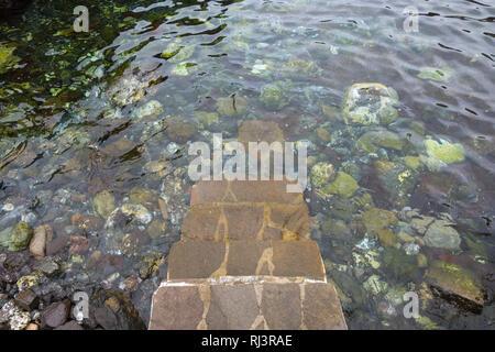 Treppen zu natürlichen Pool, Garachico, Teneriffa, Kanarische Inseln, Spanien - Stockfoto