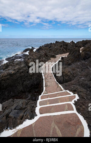 Pfad zu natürlichen Pool, Garachico, Teneriffa, Kanarische Inseln, Spanien - Stockfoto