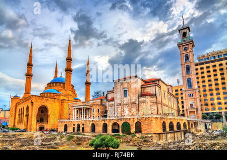 St. George maronitische Kathedrale und der Mohammad Al-Amin Moschee in Beirut, Libanon - Stockfoto