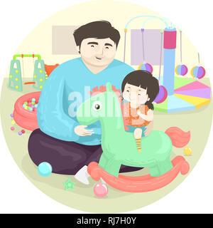 Abbildung: ein Kind Mädchen mit Vater Spielen mit einem Schaukelpferd auf dem Spielplatz - Stockfoto