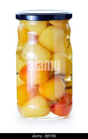Gebeizt erhalten Paprika in einem Glas auf weißem Hintergrund - Stockfoto