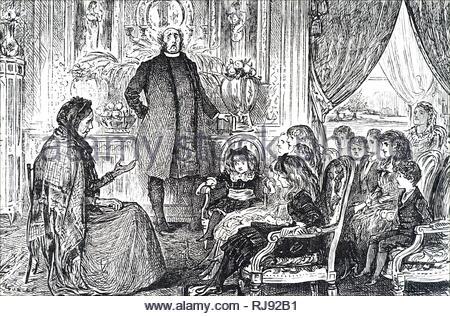 Abbildung: Darstellung einer Sonntagsschule in der Sitzung. Mit Ill. von George Du Maurier (1834-1896) eine französisch-britische Zeichner und Autor. Vom 19. Jahrhundert - Stockfoto