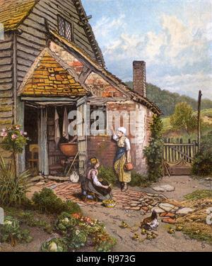 """""""Ein Morgen Klatsch"""" Zwei Mädchen in einem ländlichen Küche Garten arbeiten."""