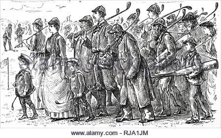 Cartoon kommentierte die wachsende Popularität des Golfs. Mit Ill. von George Du Maurier (1834-1896) eine französisch-britische Zeichner und Autor. Vom 19. Jahrhundert - Stockfoto