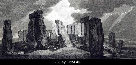 Jahrhundert, Illustration, Stonehenge, England 1827. Stonehenge ist ein Prähistorisches Denkmal in Wiltshire, England. Es besteht aus einem Ring von stehenden Steinen, - Stockfoto