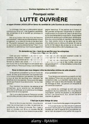 Wahlplakat für Kandidaten, Arlette Laguiller (Arbeiterkampf), für die Französische Nationalversammlung 1993 - Stockfoto