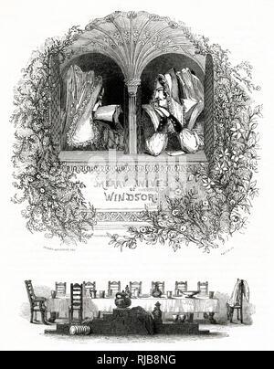 Abbildung von Kenny Wiesen in Die lustigen Weiber von Windsor von William Shakespeare. Frau Ford und Frau Seite an einem Fenster mit Buchstaben und einem langen Esstisch unten. - Stockfoto