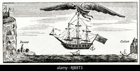 Satirische Karikatur, Blanchard die Ballonfahrer fliegen mit großen Flügeln, den Ärmelkanal von Calais nach Dover, mit einem Schiff. - Stockfoto