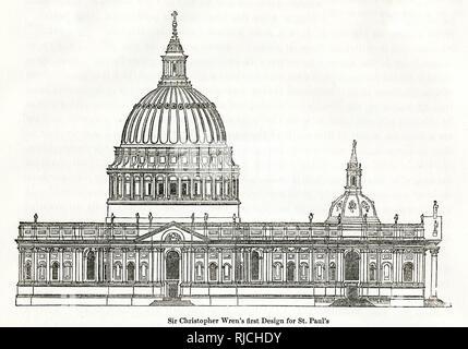 Sir Christopher Wren, erste Design der berühmten St. Paul Kathedrale in London, Wren, die mit der Konzeption der Kuppel des berühmten St. Paul verrenkt, selbst als es wurde gebaut, sein Profil unzählige Male renoviert. - Stockfoto