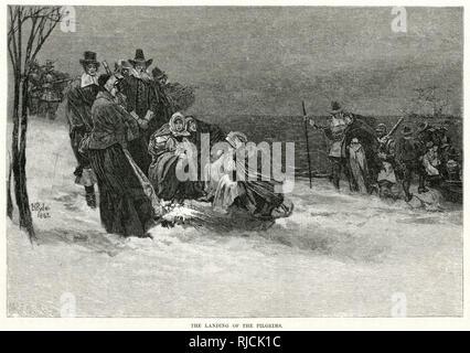 Eine Gruppe von Männern und Frauen am Strand Unordnung um ein Feuer aus dem Kalten, als mehr von der Mayflower Schiff in der Bucht vor Anker, Wateten bis zum Strand. Diese waren die Pilgerväter, Kolonisatoren, die Plymouth Kolonie und die zweite englische Siedlung in Nordamerika nach Jamestown gefunden würde. - Stockfoto