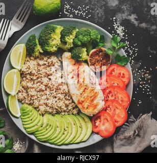 Schüssel für gesunde Ernährung, Quinoa, gegrillte Hähnchen, Avocado, Brokkoli, Kalk und Tomate auf dunklem Stein Hintergrund. Gesunde Salate. Top anzeigen, kopieren.