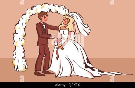 Traurig Verlobte mit schmutzigen Kleid, Cartoon Stil Vector Illustration. - Stockfoto