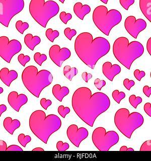 Lustig lesen Sie nahtlose valentines Muster mit Cartoon gradient Herzen. - Stockfoto