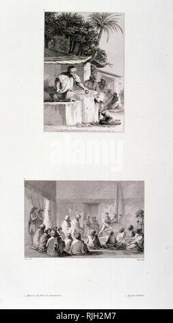 Zeichnungen von Ägypten, Baron von Dominique Vivant Denon (1747 - 1825); französische Künstler, Schriftsteller, Diplomat, Autor und Archäologen. Er wurde als der erste Direktor des Louvre von Napoleon ernannt nach der Ägyptischen Kampagne von 1798-1801 - Stockfoto