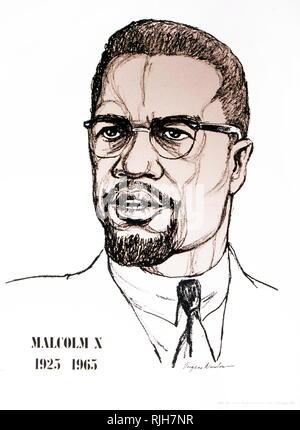 Malcolm X (1925 - 1965) war ein US-amerikanischer moslemische Ministerin und Menschenrechtsaktivist. - Stockfoto