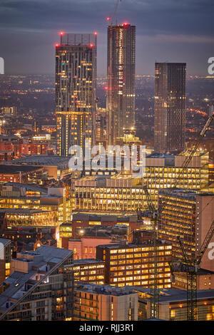Manchester City Centre Skyline Blick über die Dächer von Salford 100 Greengate, Beetham Tower - Stockfoto