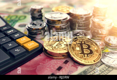Taschenrechner, Bitcoin und andere cryptocurrencies. Hohe Gewinne auf cryptocurrency Investitionen. 3D-Rendering - Stockfoto