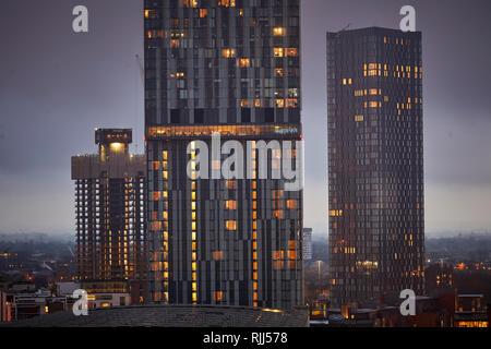 Blick von 125 Deansgate, Deansgate zu Beetham Tower, Renaker Deansgate quadratische Türme, und die großen nördlichen Lager - Stockfoto