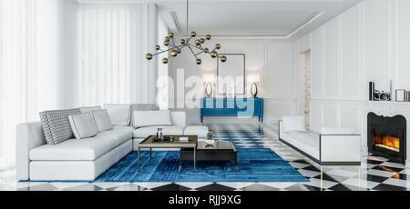 Modernes Design Wohnzimmer mit blauen Akzenten und schwarzen und ...