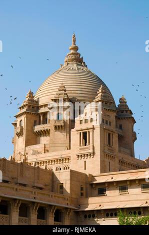 Umaid Bhawan Palace, einem der größten privaten Residenzen der Welt, Jodhpur, Rajasthan, Indien - Stockfoto