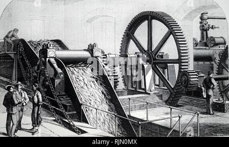 Abbildung: Dampfmaschine an der Kuba Sugar Mill Buffalo, New York, USA. 1880 - Stockfoto