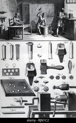 Abbildung: die Werkstatt metall Button Maker: der Mann in der Mitte ist, eine Scheibe aus Metall, der Mann auf der Linken, taucht man in eine Wanne mit warmem Harz und drückt es in eine Form zu übergeben. Wenn gesetzt, werden die Schaltflächen zu den Mann am Fenster poliert werden weitergegeben. 1764 - Stockfoto