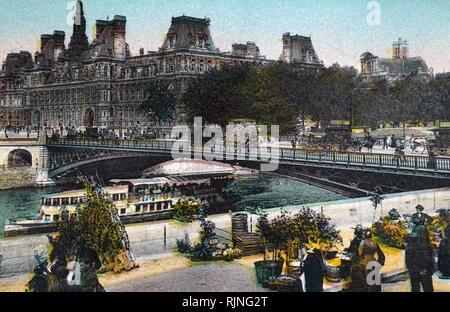 Eine Hand - Getönte Lithographie von Paris. Vom 20. Jahrhundert - Stockfoto