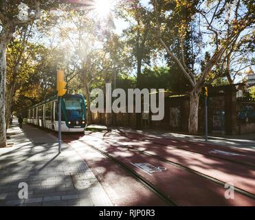 BARCELONA, SPANIEN - 11.Oktober 2017: Ansicht der modernen Straßenbahn fahren auf der Straße in der Sonne zwischen Bäumen, Barcelona in der Nähe von Ciutadella Park - Stockfoto