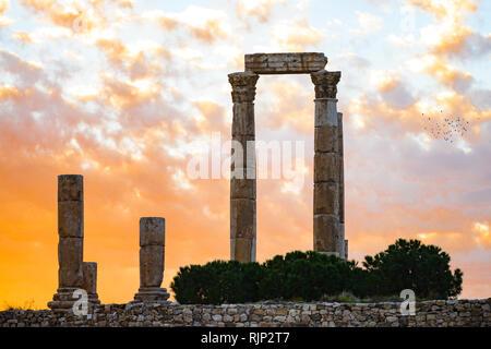 Tolle Aussicht auf einige herrliche Spalten in der Zitadelle von Amman bei einem schönen Sonnenuntergang, Jordanien. - Stockfoto