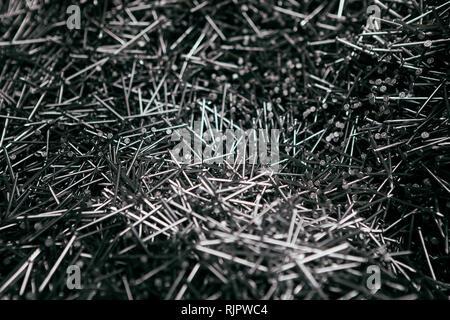 Metall Stahl Nägel Textur bau Hintergrund. - Stockfoto