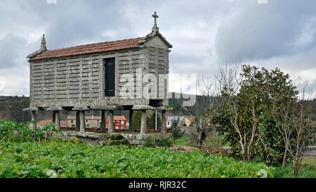 """Eine rechteckige Stein Getreidespeicher oder 'hórreo"""", die seit Jahrhunderten in Galizien, Spanien Getreide zu speichern, halten Sie es trocken und sicher von Nagetieren. - Stockfoto"""