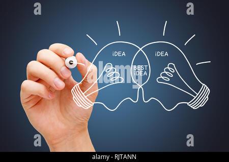 Hand zeichnen beste Idee Glühbirnen Konzept mit weißer Markierung. Teamarbeit Zusammenarbeit macht die besten Ideen.