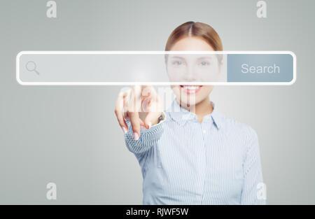 Nach Frau Hand. Zeigefinger auf leere Adressleiste in virtuellen Web Browser - Stockfoto