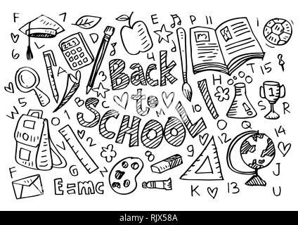 Hand gezeichnet School Supplies Stockfoto