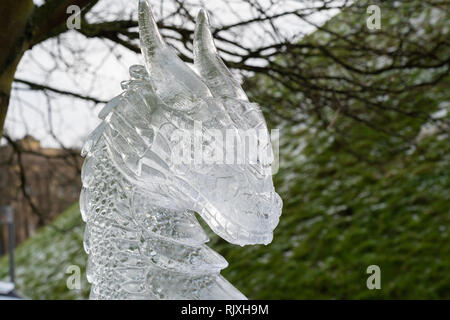 Dragon's Head Eisskulptur close-up, Eis Trail, York, North Yorkshire, England, UK. - Stockfoto