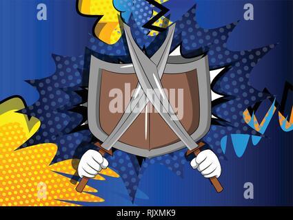 Vektor cartoon Hände halten zwei Schwerter mit Schild. Illustrierte Zeichen auf Comic Hintergrund. - Stockfoto