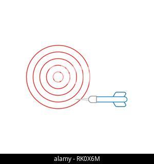 Flaches Design Stil Vector Illustration Konzept bullseye mit Dart-Symbol auf der Seitenleiste auf weißem Hintergrund. Weiße und farbige Konturen. - Stockfoto