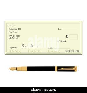 Vector Illustration von leeren Bank prüfen mit der Goldenen Feder. Bankscheck Symbol - Stockfoto