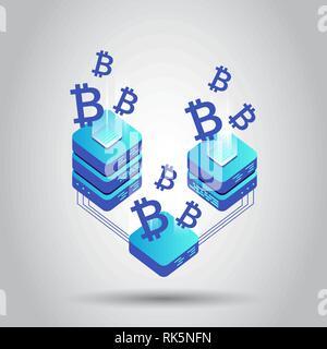 Bergbau bitcoin server Vektor Symbol Isometrische Stil. Blockchain crypto Geld farm Rechenzentrum Hintergrund. Block Chain Konzept. - Stockfoto