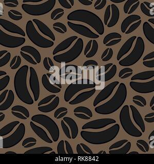 Vektor Zusammenfassung Hintergrund mit nahtloser coffee bean Muster. geröstete Kaffeebohnen Zeichnung Abbildung - Stockfoto