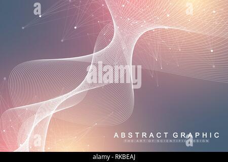 Große genomische Daten Visualisierung. DNA-Helix, DNA-Strang, DNA Test. Molekül oder Atom, Neuronen. Abstrakte Struktur für Wissenschaft oder medizinischen Hintergrund