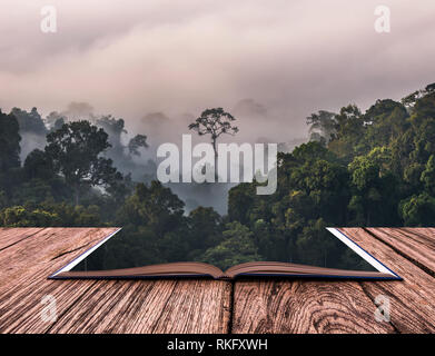 Konzeptionelle Buch Bild der schönen Landschaft von Nebel mit Bergkette an PanoenThung View Point in der Kaeng Krachan Nationalpark, Thailand - Stockfoto