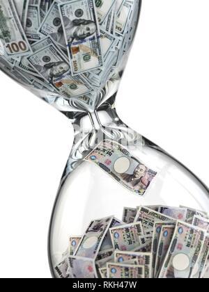 Yen Dollar Börse Konzept. Sanduhr und Banknoten. 3d. - Stockfoto
